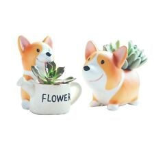 2x KAWAII Corgi Flowerpot Creative Resin Planter Flower Pot Succulent Plants AU