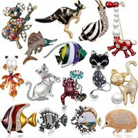 Fashion Crystal Pearl Animal Cat Fish Brooch Pin Women Rhinestone Jewelry Gifts