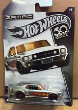HOT WHEELS DIECAST - 50th Anniversary Zamac Flames '67 Ford Mustang Coupe 1/8