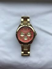 fossil women's watch gold with coral face excellent working condition!!