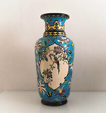 Très grand vase en céramique, émaux de Longwy, décor japonisant. Haut: 41,5 cm.