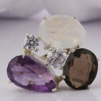 Handmade 925 Solid Sterling Silver Jewelry Amethyst Gemstone Ring Size 8.5