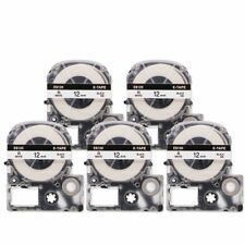 5PK Compatible for Epson SS12KW LK-4WBN LW-300 Black on White Label Tape 12mm