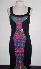 KARDASHIAN KOLLECTION SIZE X-SMALL BLACK  STAINGLASS FRONT  PRINT FASHION DRESS