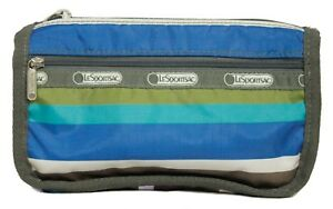 LeSportSac Blue Green Purple Striped Zipper Cosmetic Polyester Travel Bag