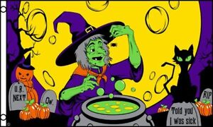 Halloween Green Witch Flag 3x5 ft Party Decoration Banner Trick or Treat Holiday