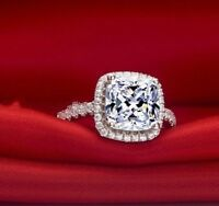14K White Gold Over 2CT Round Cut Diamond Solitaire Bridal Set Engagement Ring