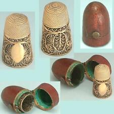 Antique Gilded Sterling Silver Filigree Thimble in Case * English * Circa 1790