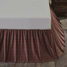 "VHC Primitive Bed Skirt Dust Ruffle King Queen Twin Red Plaid Cotton 16"" Drop"