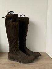 Miu Miu Boots Stretch Suede Knee High Tall Zip Flat Boot Brown Size 7 Us