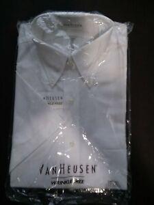 Van Huesen  Made in USA Wrinkle Free  Short Sleeve White Dress Shirt NEW Men's