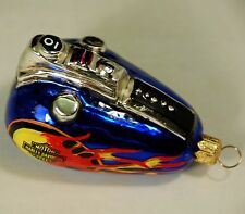 "Harley Davidson ( Fat Boy) glass ornament of gas tank, looks handpainted, 3""x 2"""