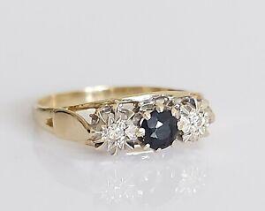 Beautiful Vintage 1984 9ct Gold Sapphire & Diamond Trilogy Engagement Ring UK J