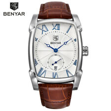 BENYAR 5114 Rectangle Men Luxury Calendar Quartz Sports Leather Strap Watch Box