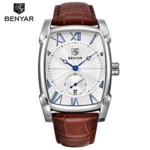 BENYAR 5114 Rectangle Men Luxury Calendar Quartz Sports Leather Strap Watch Box