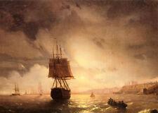 """Oil Ivan Constantinovich Aivazovsky - The Harbor At Odessa On The Black Sea 36"""""""