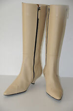 New TOD'S Bone Off White Cream Leather  Kitten Heel Knee high Boots Shoes 39