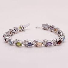 Garnet, Citrine, Amethyst Multi Gemstone 925 Sterling Silver Tennis Bracelet New