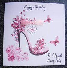 HANDMADE PERSONALISED  BIRTHDAY CARD,BUTTERFLY & BLOSSOM SHOE