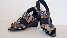 NEW Ellen Tracy IDOL Black Faux Snake Print Strappy Wedge Heel Sandals Size 7 M