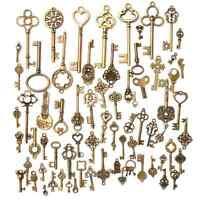 70pc Antique Vintage Old Look Bronze Skeleton Keys Fancy Heart Bow Pendant Decor