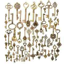 Set of 70 Antique Vintage Old Look Bronze Skeleton Keys Fancy Heart Bow Pendant