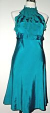 DOROTHY PERKINS TEAL GREEN FRILL FRONT DRESS SIZE 10 PRE LOVED