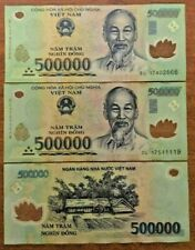 Vietnamese Dong 1 Million (2 x 500000 Note) Vietnam Banknotes Currency Money VND