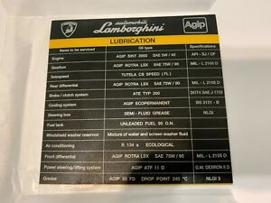 Lamborghini nos lubrication sticker