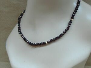 """NEW 14K SOLID GOLD GENUINE GARNET BEAD CHOKER NECKLACE! 17"""" CLASSIC"""