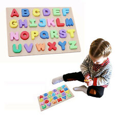 3D Alphabet Letters Kid's Wooden Learning Puzzle 26 pcs Toddler Bright Color