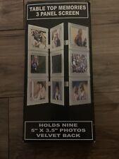 "TABLE TOP MEMORIES 3 PANEL SCREEN FRAME HOLDS NINE 2"" X 3"" PHOTOS  NIB"