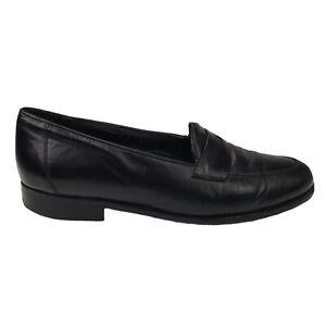 Mens 9.5 M De La Rentis Made in Spain Classic Slip On Penny Loafer Black Leather