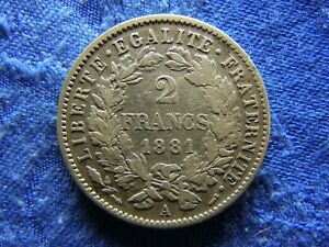 FRANCE 2 FRANCS 1881, KM817.1