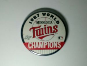 "1987 WORLD SERIES CHAMPIONS MINNESOTA TWINS PIN BUTTON COLLECTORS 3 1/2"""