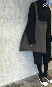 "New Rick Owens UNISEX Rare XL 23"" Square Gray Cotton Tote Bag. Amazing quality."