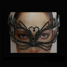 Eye Mask Black Crystal Rhinestone Royal Venetian Masquerade Wedding Bridal Prom
