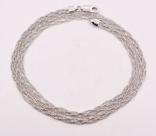 Triple Braided Fox Tail Diamond Cut Chain Necklace 14K White Gold Clad Silver