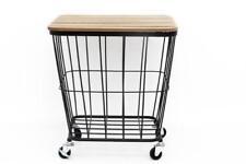 Modern Retro Square Black Wire Metal Wood Coffee End Side Storage Table Wheels