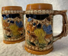 """Beer Steins of """"Two Men drinking Outside Mill"""", 2 Pieces, Vintage, Japan"""