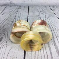 Vintage Genuine Onyx Marble Napkin Ring Holders Set of 5
