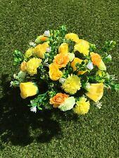 Artificial  Silk Rose Grave Pot Flower Arrangement Summer Yellows  Handmade