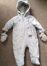 Disney Baby Boy Blue Tigger Snow Suit 3-6 Months Hood Detachable Mittens Fluffy