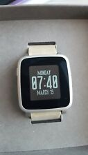 Pebble Time Steel Smartwatch Silver with Tan leather band EXCELLENT Condition