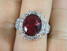 RING:  SIZE 7,   RED TOURMALINE OVAL (14X12MM) WHITE ZIRCON 925 STERLING SILVER