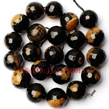 """18mm Yellow Black Color Agate Faceted Round Shape Gems Loose Beads Strand 15"""""""