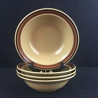 Set of 4 VTG Cereal Bowls by Newcor Romantic Stoneware 152 Brown Bands Japan