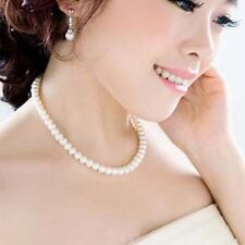RF High Gloss Simulated Pearl Chain Pendant Collar Necklace Women Jewelry