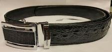 Genuine Crocodile Belt Skin Leather Bone Black Men's Accessories 1.5X48 Inches