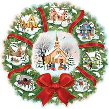 BITS AND PIECES SHAPED PUZZLE CHRISTMAS VILLAGE WREATH ROSILAND SOLOMON 750 PCS